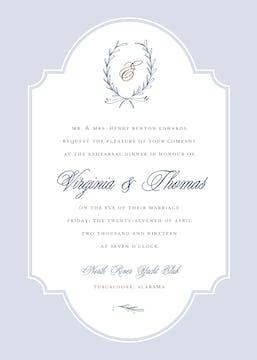 Laurel Wreath Navy Invitation