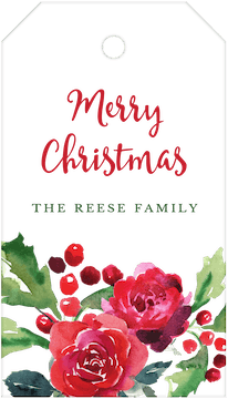 Roses & Holly Hanging Gift Tag