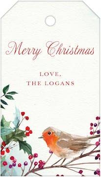 Christmas Robin Hanging Gift Tag