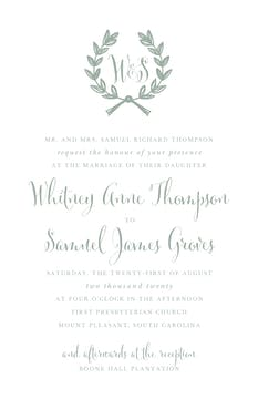 Wedding Wreath Sage Invitation (Designed by Natalie Chang)