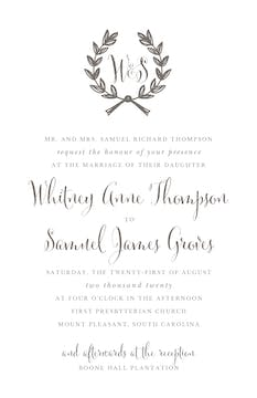 Wedding Wreath Grey Invitation (Designed by Natalie Chang)