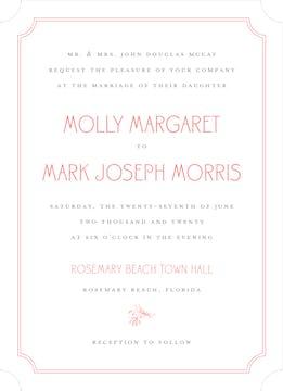 Rosemary Wedding Coral Invitation