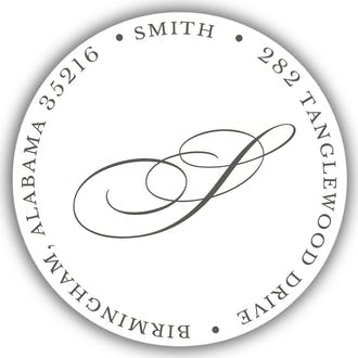 White Round Address Label