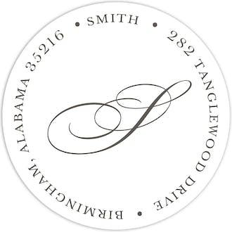 White Round Address Label