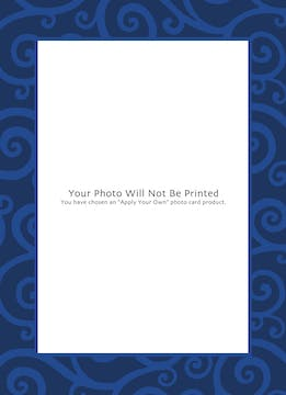 joyful swirls navy Holiday Card-Print & Apply