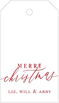 Merry Christmas Calligraphy White (Vertical) Hanging Gift Tag