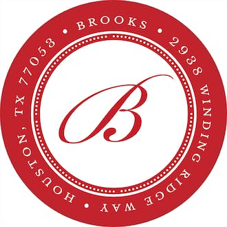 Elegant Border Red Round Address Label