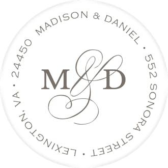 Modern Monogram White Round Address Label