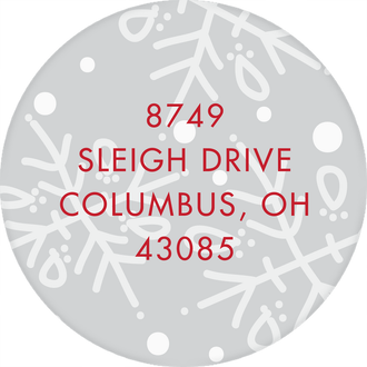 Sled Round Address Sticker (Designed by Natalie Chang)