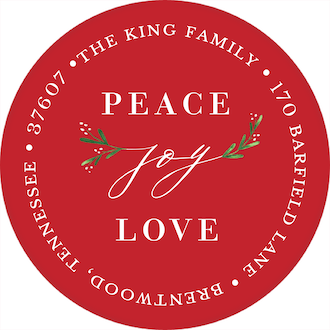 Joy Greenery (Red) Round Address Label