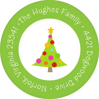 Merry & Bright Trees Round Address Label