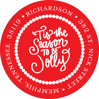 Tis the Season to be Jolly Round Address Label (Designed by Natalie Chang)