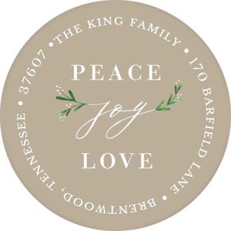 Joy Greenery (Tan) Round Address Label