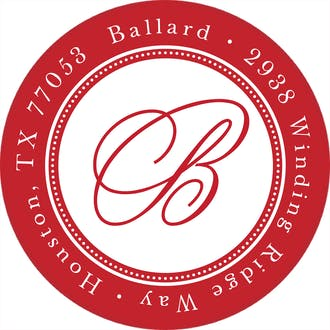 Elegant Border Red Round Address Label