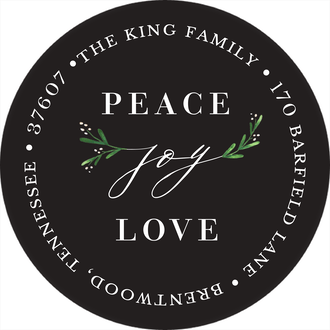 Joy Greenery (Black) Round Address Label