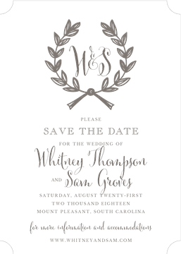 Wedding Wreath Grey Invitation (Designed by Natalie Chang)