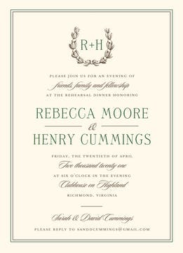 Ribboned Wreath On Ivory Espresso Invitation