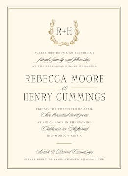 Ribboned Wreath On Ivory Gold Invitation