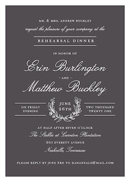 Classic Evening Charcoal Invitation