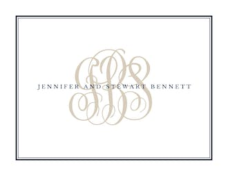 Tailored Monogram Navy Folded Note