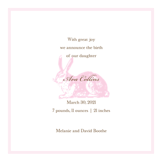 Spring Hare Ballet Girl Square Birth Announcement