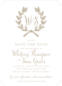 Wedding Wreath Tan Invitation (Designed by Natalie Chang)