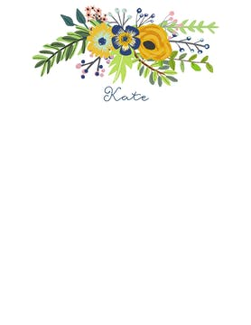 Navy & Gold Bouquet White Flat Note
