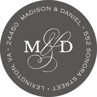 Modern Monogram Charcoal Round Address Label