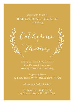 Lovely Branches Gold Invitation