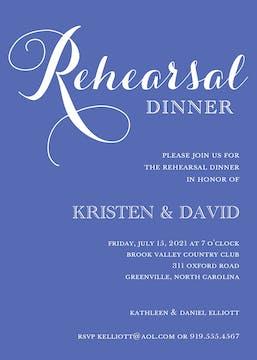 Cobalt Rehearsal Dinner Invitation
