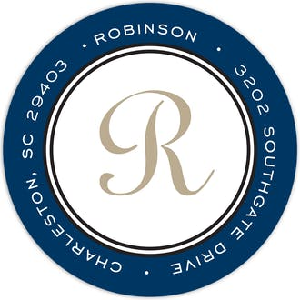 Elegance Navy Round Address Label