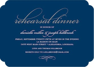 Foil Rehearsal Dinner Navy Foil Pressed Invitation