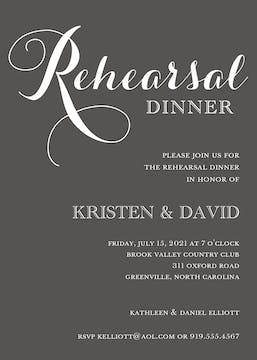 Charcoal Rehearsal Dinner Invitation