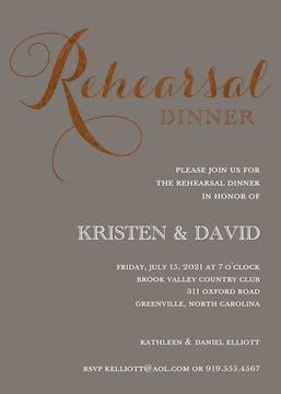 Foil Rehearsal Dinner Grey Foil Pressed Invitation
