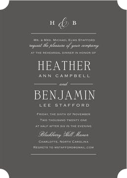Simple Space Charcoal Invitation