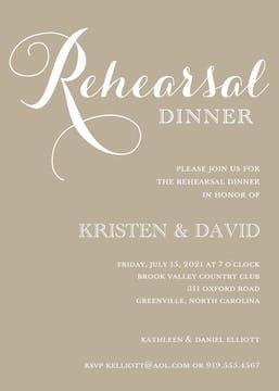 Tan Rehearsal Dinner Invitation