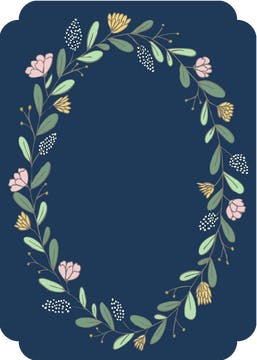 Spring Wreath Navy Invitation