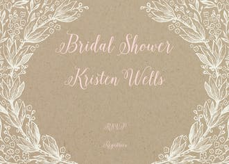 Bouquet Border Kraft Invitation
