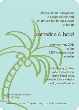 Palm Tree Invitation - Lime on Robin's Egg