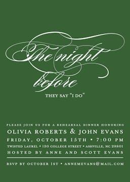 The Night Before Green Invitation