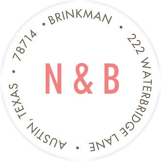Engaged Ribbon White Round Address Label