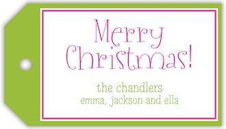 Merry Christmas Borders Hanging Gift Tag