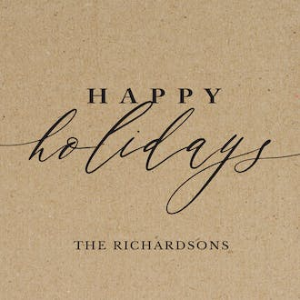 Happy Holidays Calligraphy Kraft Flat Enclosure Card