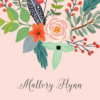 Feather & Flower Blossom Enclosure Card