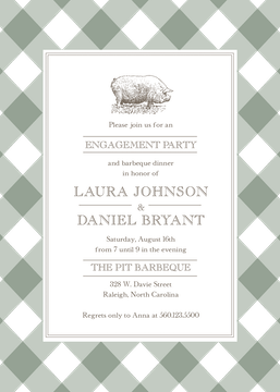 Gingham Barbeque Invitation