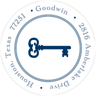 Pinstripes Navy Round Address Label