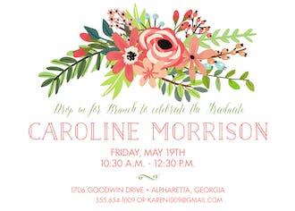Coral Bouquet White Invitation