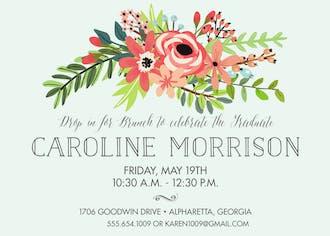 Coral Bouquet Mint Invitation