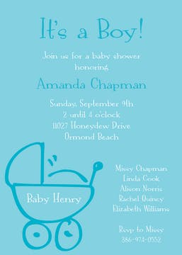 Baby Buggy Pool Invitation