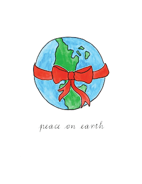 Peace On Earth Small Holiday Greeting Card